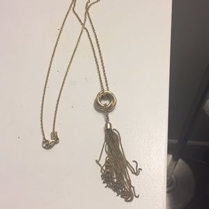 Long gold dangle necklace